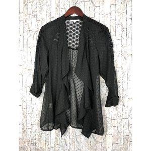 Danielrainn Black Ruffled Pebbled Kimono